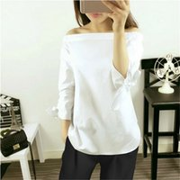Wholesale White Blouse Black Bow - Plus Size Women Sexy Blouses Slash Neck Off Shoulder Bow Long Sleeve Casual Tops Shirts Blue White Striped Party Blusas