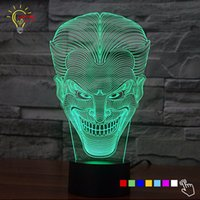 Wholesale Changing Lights - Wholesale- Color Changing 3D Lamp Luminaria Bulb LED Night Light Joker Lighiting Figure Toys Home Decor Bedside Table Lamp USB Best Gift
