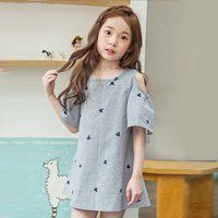 Spring / Autumn paint boats - New Big Girls Dresses Off shoulder Summer Kids Dress Bear head Stars Painted Children Clothing Dresses Casual Loose Korean Girl Dress A6741