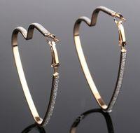 Wholesale Wholesale Wide Hoop Earrings - Women Heart Hoops Matte Wide Band Earrings Female Fashion Cool Ear Jewelry Eye Focused Ear Dangles