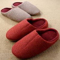 Wholesale Unisex Bedroom Slippers - Wholesale- Women Indoor Slippers For Men 2016 New Linen Home Shoe Bedroom Winter Cotton Floor Warm Chinelos Homem Pantufa Pantoufle Femme