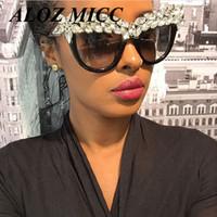 Wholesale Mixed Diamonds - ALOZ MICC Brand Cat Eye Sunglasses For Women Vintage Designer Sunglasses Oversize Frame Crystal Diamond Glasses UV400 A037