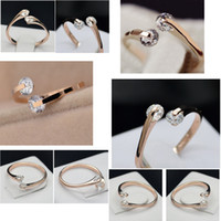 Wholesale Women Twin Sets - High Quality Silver Rose Gold Color Fashion New Twin Zircon Cubic Zirconia Engagement Rings for Woman Gift