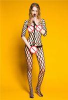 sıcak seksi vücut iç çamaşırı toptan satış-Sıcak Dikişsiz Büyük Elmas Net Uzun Kollu Bodystocking Crotchless Fishnet Vücut Stocking Sheer Vücut Suit Seksi Erotik Lingerie