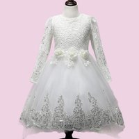 Wholesale Trailing Flowers - Baby Girls Lace Tulle Dress Long Sleeve White Flower Children Princess Wedding dress and Party Dresses With Trailing Cute Bow