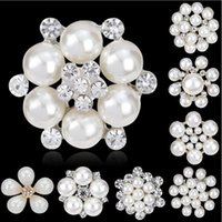Wholesale Wholesale Imitation Bouquet Jewelry - Brooches Pins Hot Sale Silver Pearl Crystal Rhinestone Flower Bouquet Pin Brooche for Women Girl Party Gift Fashion Jewelry Wholesale 0418WH