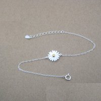 Wholesale Two Tone Flower Wholesale - American and European style 925 sterling silver designer jewelry flower charm bracelet for women two-tone plated drop shipping