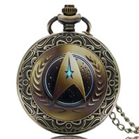 Wholesale Lucky Star Watches - Wholesale-New Arrival Fashion Star Trek Design Pocket Watch Chain Quartz Watches Lucky Gift for Men Boys P1432-4