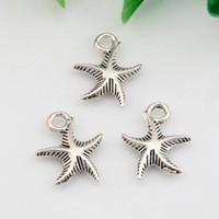 Wholesale 3d Jewelry - Hot ! 200pcs Antiqued Silver zinc Alloy 3D starfish Charms Pendant 13*17mm DIY Jewelry
