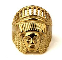 Wholesale Indian Head Charms - 2017 Men Bling Ancient Maya Tribal Indian Chief Head Jewelry Gifts Hip Hop Rings 18k Gold Plated Charm Steel Carving Crown RING