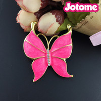 Womens Antique Silvery Tone Hot Pink Pearlescent Emaille Bug Eyed Schmetterling Insekt Brosche Pin