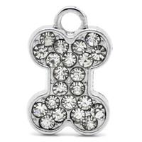 Wholesale Horn Bone Jewelry - metal pendant 30Pcs Silver Tone Clear Rhinestones Dog Chew Bone Animal Metal Pendants Jewelry Component Charm 21x14mm