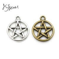 Wholesale Pentacle Charms Wholesale - Tibetan Silver Plated Star Pentacle Charm Pendants for Jewelry Making Findings DIY Accessories Craft Handmade 20x17mm
