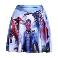 Wholesale Ironing Skirt - NEW 1126 Summer Sexy Girl Comics Avengers Iron Man Visus Printed Cheering Squad Tutu Skater Sport Women Mini Pleated Skirt Plus Size