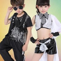 Wholesale Jazz Costumes For Girls - Boys Modern Jazz Dancewear Outfits Kids Hip Hop Party Ballroom Dance Costumes Sweatpants + Hoodie costumes tracksuit outfits for Girls
