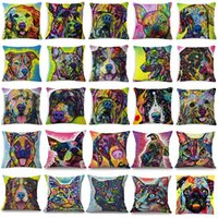 Wholesale Red Grey Oil Paintings - Colorful Oil Painting Cushion Cover 45x45CM (18x18IN) Cute Dogs & Cats Pillow Cover Pillow Case Home Decor
