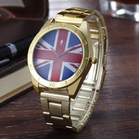 Wholesale Clover Flag - Fashion AD Clover women's Men's unisex 3 leaf leaves British flag style dial Steel metal band quartz wrist watch
