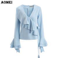 ingrosso peplum blusas-Camicie blu ceruleo con volant Camicie Moda ufficio Elegante Top Abbigliamento Office Lady Workwear Peplum 2017 Autunno Bowknot Blusas
