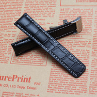 Wholesale 24mm Italian Leather Watch Strap - High Quality Italian Cowhide Leather Watchband Black Dark Blue Brown Watch straps band with white stitched silver deployment clasp 22mm 24mm