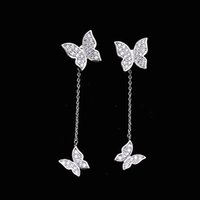 Wholesale Earring Stud Post Silver - Cute Butterfly Earrings Crystal Diamonds Prong Setting Front and Back Post Stud Earrings Long Tassel 925 Sterling Silver Fashion Jewelry