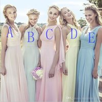 Wholesale One Dress Different Style Bridesmaid - 2016 Different Styles Floor Length Long Cheap Bridesmaid Dress Custome Made Chiffon Beach Wedding Guest Dress Vintage Party Gowns