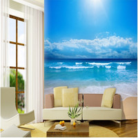 океан обои для стен оптовых-Wholesale-papel de parede Customize 3d photo wallpaper 3d European non-woven wallpaper bedroom ocean sky ocean beach wall mural wallpaper