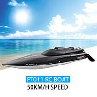 ingrosso h barca-2016 NUOVO Fei Lun FT011 RC Boat 50 km / h Velocità con motore senza spazzole Sistema di raffreddamento ad acqua incorporato Barca da corsa professionale RC