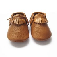 Wholesale genuine leather baby moccasins for sale - The best selling color Ginger baby moccasins soft leather moccasin shoes infant toddler baby shoes with tessels baby shoes with fringe