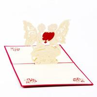 anges romantiques achat en gros de-(10 pièces / lot) Style romantique de coeur d'ange 3D carte de voeux de carte de papier stéréo pop up carte pour la Saint-Valentin Livraison gratuite