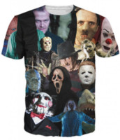 Wholesale Newest 3d Movies - Newest Fashion Mens Womans Horror Movie Killers Funny Tops Hipster Summer Style Tees 3D Print Casual T-Shirt