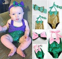 Wholesale Wholesale Toddler Girls Bathing Suit - PrettyBaby bowtie Fashion Princess Girls Mermaid Swimsuit one piece Kids Toddler Bikini 2 Pcs Suit Child Swimwear Children Bathing