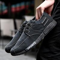 Wholesale Dark Blue Jeans Men - Fashion denim casual canvas shoes Retro Black low wash jeans canvas shoes comfortable shoes