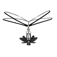 Wholesale Women Butterfly Thongs - Women Sexy Lace Butterfly Thongs Lingerie Transparent Panties Briefs Metal Chain G String Seamless Underwear Women Strings