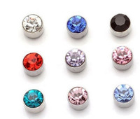 Wholesale Pair Magnetic Earring - 24 pairs 5 mm Rhinestone Crystal Magnet Magnetic Earrings Magic Unisex Fake Cheater Ear Plugs