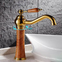 Wholesale Soild Gold - Rotatable Faucet With Soild Brass Gold Finish Marble Stone Body Single Handle one hole Cold and Hot Water Tap Bathroom Sink Faucet