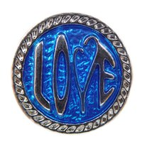 Wholesale European Blue Enamel Rhinestone - A040 Noosa blue love enamel chunks snap button jewelry newest metal snaps