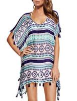 Wholesale Striped Beach Cover Ups - New 2017 Tassel Cover Up Summer Beach Wear Sexy Beach Loose Swimwear Women Striped Bikinis QP0277
