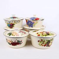 Wholesale Wholesale Porcelain Bowls - Thicker Enamel porcelain Soup bowl Flower pattern prints Round Wrapping Diameter 16-30cm Enamel kitchen Dining bowl Soup pot