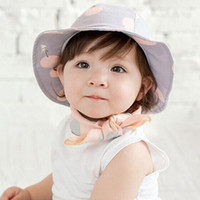 Wholesale Boys Bucket Hats - Summer Outdoor Bucket Hat Children Bowknot Pearl Cap Sun Beach Cap Cute Baby Girls Boys Sun Hats