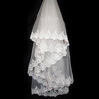 Wholesale Coloured Veils - Wholesale-Colour Bride Laciness Applique 3 Meters Vintage Veil long Bridal Veil Ivory