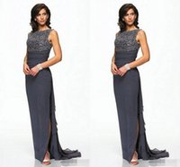 Wholesale Sequin Bodice Mother Bride - Dark Grey Chiffon Mother Of Bride Evening Dresses With Beaded Bodice Sheath Sweep train Side Split Fashion Mother Women Dresses 2017
