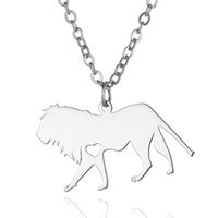 Lion Pendant Necklace com amor coração Stainless Steel Animals Charm Link Chain Jewelry para mulheres e homens Children Gifts Wholesale
