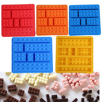 Wholesale Square Jelly - Square Lego Creative Silicone Ice Trays Ice Maker Lego Type Muffin Sweet Candy Jelly Fondant Cake Chocolate Mold Ice Moulds Candy Molds