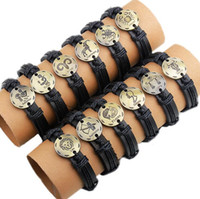 Wholesale Titanium Rope Bracelet Black - 2017 Twelve Constellations leather Bracelets The Zodiac Antique Copper Bracelets Leather Metal Bracelet By free shipping