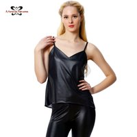 Wholesale Leather Strapless Top - Wholesale-Women Tops 2016 Faux Leather Tops Street Strapless PU Leather Stitching Chiffon Sexy Perspective Back Of Fine Straps Vest SKU748