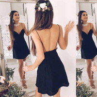 Wholesale Sexy Silk Wear - Little Black Mini Short Cocktail Dresses 2017 Straps Sexy Backless Formal Party Wear Short Prom Dresses Cheap Simple Girl Dress
