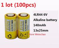 Wholesale batteries 6v resale online - 100pcs LR44 A A76 A544 V4034PX PX28A L1325 V dry alkaline battery Volt Batteries