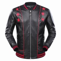 Wholesale Mens Star Jacket - 2017 New Autumn Winter Men's Jacket Length Sleeve Genuine Leather Hoodies Embroidery Print Star Mens Zipper Outwear Jackets 9036