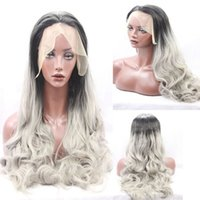 Wholesale Grey African Lace - Wholesales Synthetic Lace Front Wig Glueless African American Long Wavy Black Women Ombre Black Light Grey Lace Synthetic Wigs