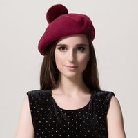 Wholesale Hair Decoration For Ball - Wholesale-2016 New arrived autumn winter wool beret caps hats for women solid decoration rabbit hair ball fashion All-match Stewardess hat